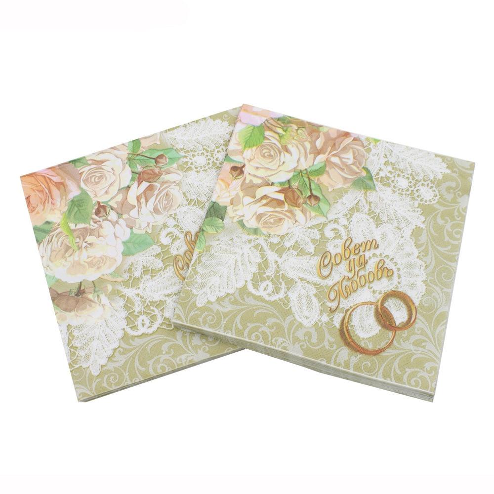 High-grade Club Vintage Flower Paper Napkins Cafe&Party Tissue Napkins Decoupage Decoration Paper 33cm*33cm 20pcs/pack/lot
