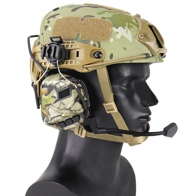빠른 헬멧을위한 전술 헤드셋 arc 헬멧 레일 어댑터가있는 군용 소음 감소 헤드셋 사냥 항공 comtac 헤드폰