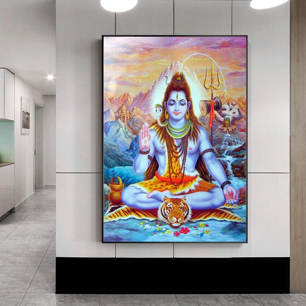 Hindu Poster Art: Shiva Lord Canvas Paintings On The Wall Hindu Gods Wall