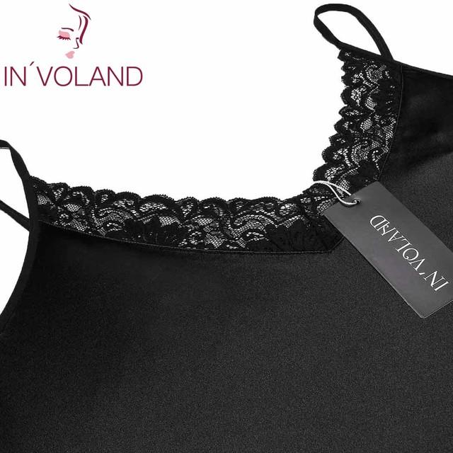IN'VOLAND Plus Size Women Sleepwear Sexy Lingerie Dress XL-5XL Robe Night Dress Lace Stretchy Satin Babydoll Chemise Nightgown