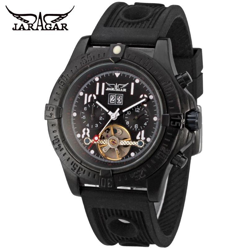 ФОТО 2017 JARAGAR Casual Reloj Hombre Day/Week/Month Auto Mechanical Watches Rubber Wristwatch Free Ship