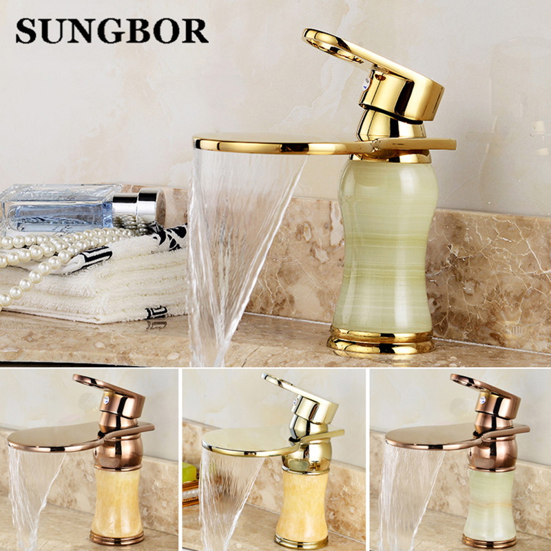 New arrival top high quality jade body single lever gold Hot and Cold bathroom sink waterfall faucet basin tap AL-7162K new arrival top high quality brass single lever chrome hot and cold bathroom sink waterfall faucet basin tap