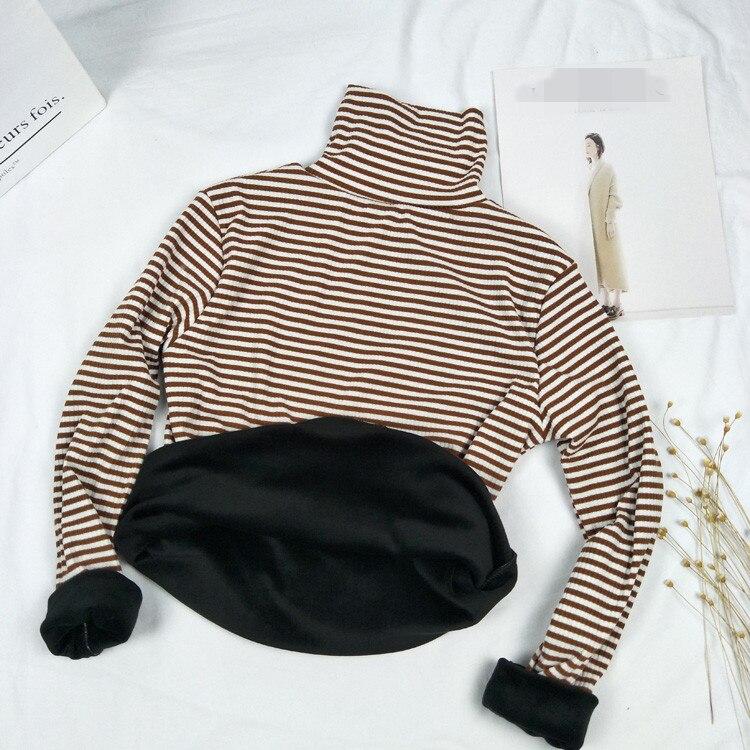 Women Striped Tees 2018 Slim T-shirt New Clothes Fine Long Sleeve Sweatshirt High Collar Women Tracksuit Female Tide Warm Clothe