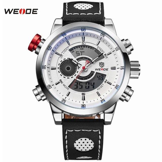 WEIDE Спорт Моды для Мужчин Наручные Часы Класса Люкс Известная Марка мужская Кожа PU Ремешок 30 м Водонепроницаемый Случайные Спортивные Часы