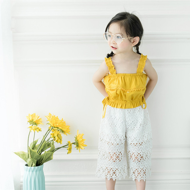 00a364a6e2ff DFXD High Quality Little Girls Summer Clothes Set Yellow Sleeveless Top+ White Wide Leg Pant 2pc Princess Clothing Set 1-7Years