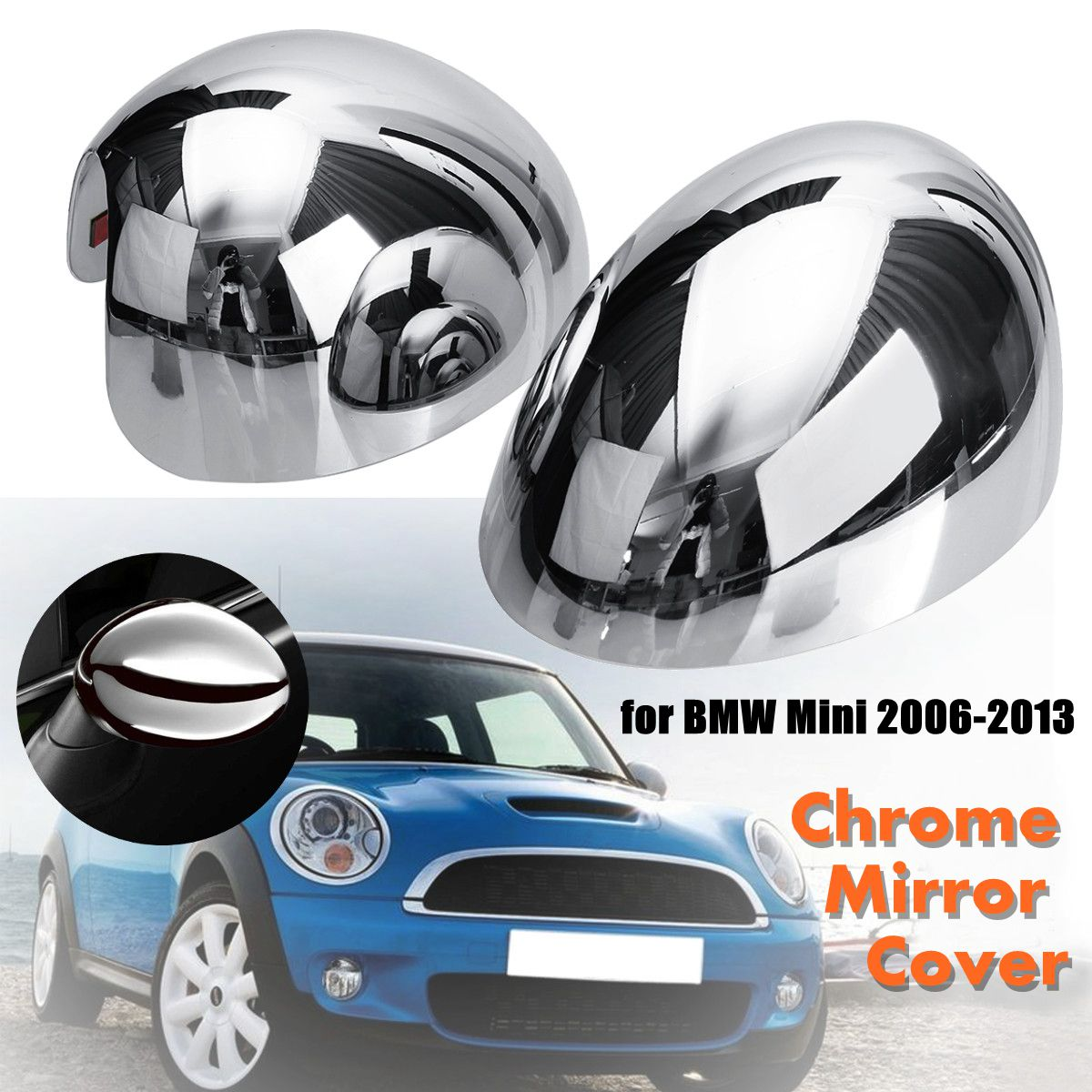 2Pcs ABS Chrome Car Door Wing Mirror Glass Cap Covers Plastic for BMW for Mini Cooper 2006-2013 carking diy abs steering wheel covers stickers for bmw mini cooper red blue multi color