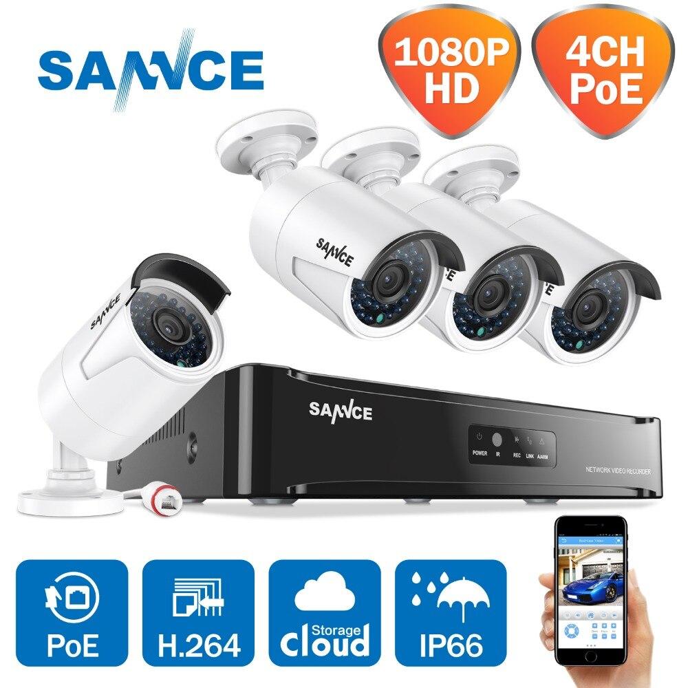 SANNCE PoE Комплект видеонаблюдения NVR 4CH 1080 P POE CCTV Системы HD 2.0MP видео камеры безопасности инфракрасный открытый 1080 P наблюдения Системы Наборы
