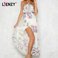 LIENZY 2018 Summer Sling Fashion Flaral Print Dress Women Sleeveless Sexy Backless Long Maix Dress Female