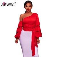 SEBOWEL Latest 2017 Autumn One Shoulder Women Blouse Fashion Vintage Multi Layer Big Ruffles Long Sleeve