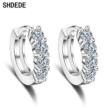 SHDEDE Small Hoop Earrings Fashion Jewelry For Women CZ Crystal from Swarovski Party Lady  Accessories +*WHEK109 shdede white 7