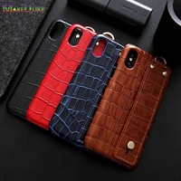 Genuine Leather Case For iPhone XR XS Max 11 Pro Max Cover Wrist band Alligator Hard Phone Back Case For iPhone XS Max XR 11Pro