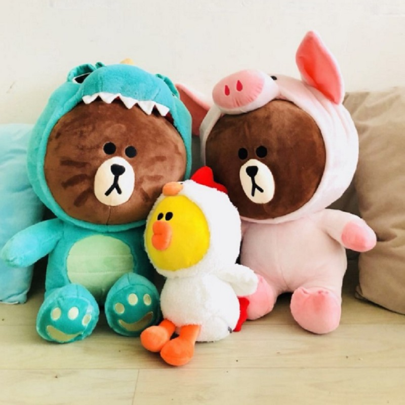 Cute Korea dino brown and cony doll cosplay toys for girlfriend Children gift pig duck deer fox coat Transform plush