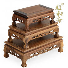 Redwood sculpture buddha crafts decoration base chicken wings wool rectangle solid wood stone base