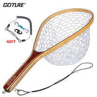 Goture 60cm Fly Fishing Landing Net Monofilament Nylon Network Hand Net +Lanyard Rope+Magnetic Buckle for Trout Fishing Tackle
