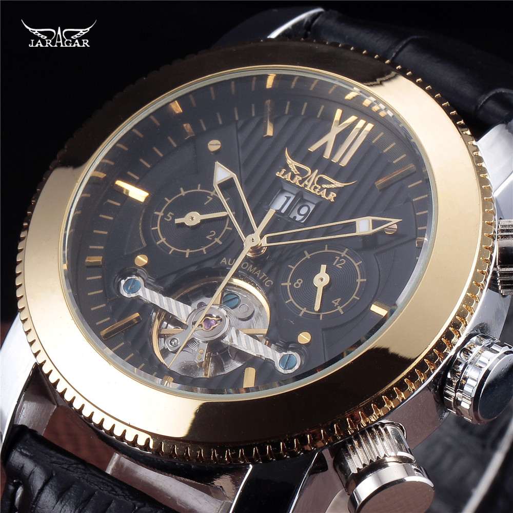 Vintage Hollow Out Design Jaragar Tourbillon Man Mechanical Watch Automatic Self Wind New Hot Military Watches Male Gift hot steampunk fire fighter pocket watch fireman retro design quartz watches gift for man woman