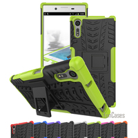 Hybrid Kickstand Dazzle Rugged Rubber Hard PC TPU Shockproof Stand Function Back Cover Case For Sony