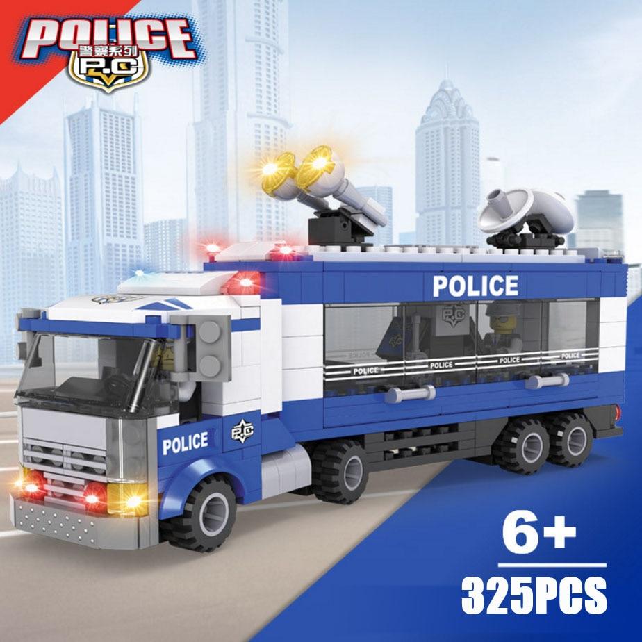 City Super police Command Mobile Center station truck building block traffic policeman figures bricks educational toys for kids
