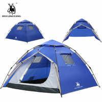 GAZELLE Camping กลางแจ้งเต็นท์เปิดอัตโนมัติเต็นท์ 3-4 คนพื้นที่ขนาดใหญ่กลางแจ้งกันน้ำ Double Layer Famliy เต็นท์