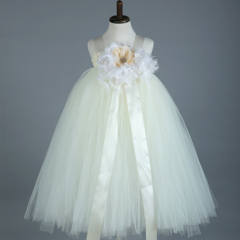 Feathers Flower Girl Tutu Dresses Light Pink White Tulle Baby Girl ...