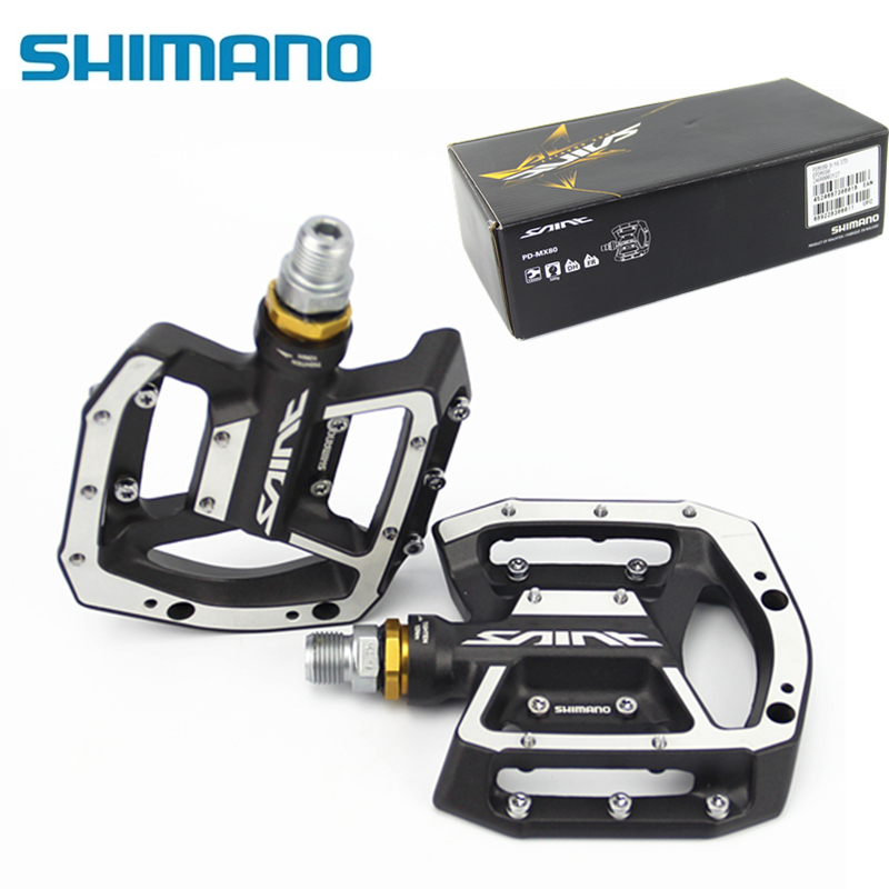 Shimano SAINT MX80 Flat PEDAL MTB Mountain Bike Cycling Sealed Bearing Aluminum Alloy Bicycle All Mountain Freeride DH Downhill rockbros 9 16 magnesium alloy bicycle pedal titanium spindle ultralight mountain bike pedal 5 colors