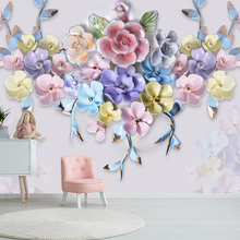 [Self-Adhesive] 3D Embossed Color Painting Roses 6 Wall