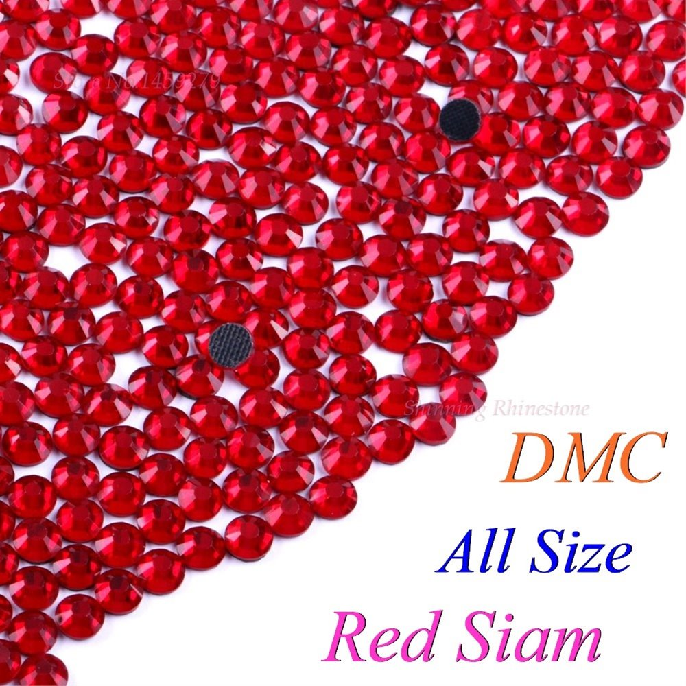 DMC Red Siam SS6 SS10 SS16 SS20 SS30 Mixed Size Glass Crystals Hotfix Rhinestone Iron-on Rhinestones Shiny DIY Garment With Glue