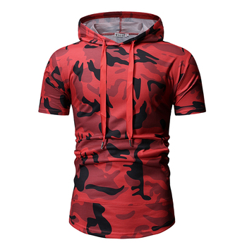 2019 summer new men's fashion camouflage hooded zipper stitching casual short-sleeved T-shirt   S-XXL