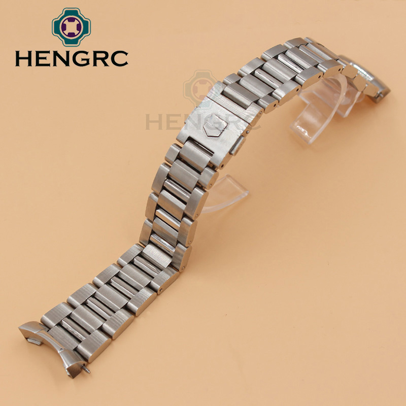 22mm Watch Strap Bracelet Silver Balck Solid Stainless Steel Luxury Curved End Watchbands Metal Watch Band Accessories 20mm 23mm curved end watchbands rubber wrap rose gold stainless steel watch strap solid link bracelet for ar5890 5905 5919 5858