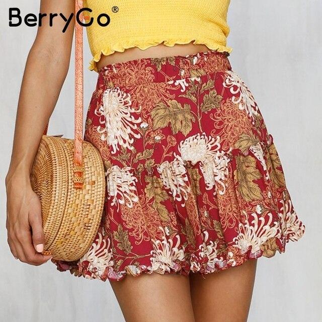 134b874793 BerryGo Boho tiered ruffle flower mini skirt Elastic waist a-line short  skirt women Casual beach summer skirt 2018 new