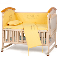Crib with solid wood multi function bed without paint green cradle bed neonatal BB children's bed