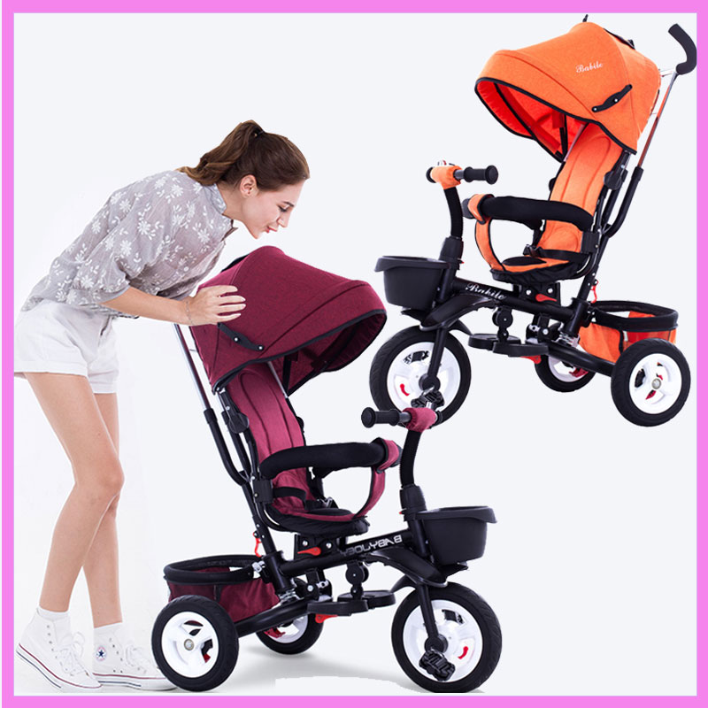 2 In 1 Foldable Children Tricycle Bike Baby Carriage Trolley Antique Baby Pram Baby Pushchair Reverable Handle Tricyle Stroller baby three wheels stroller tricycle bicycle child foldable tricycle bike free install storage bag trolley pushchair car pram