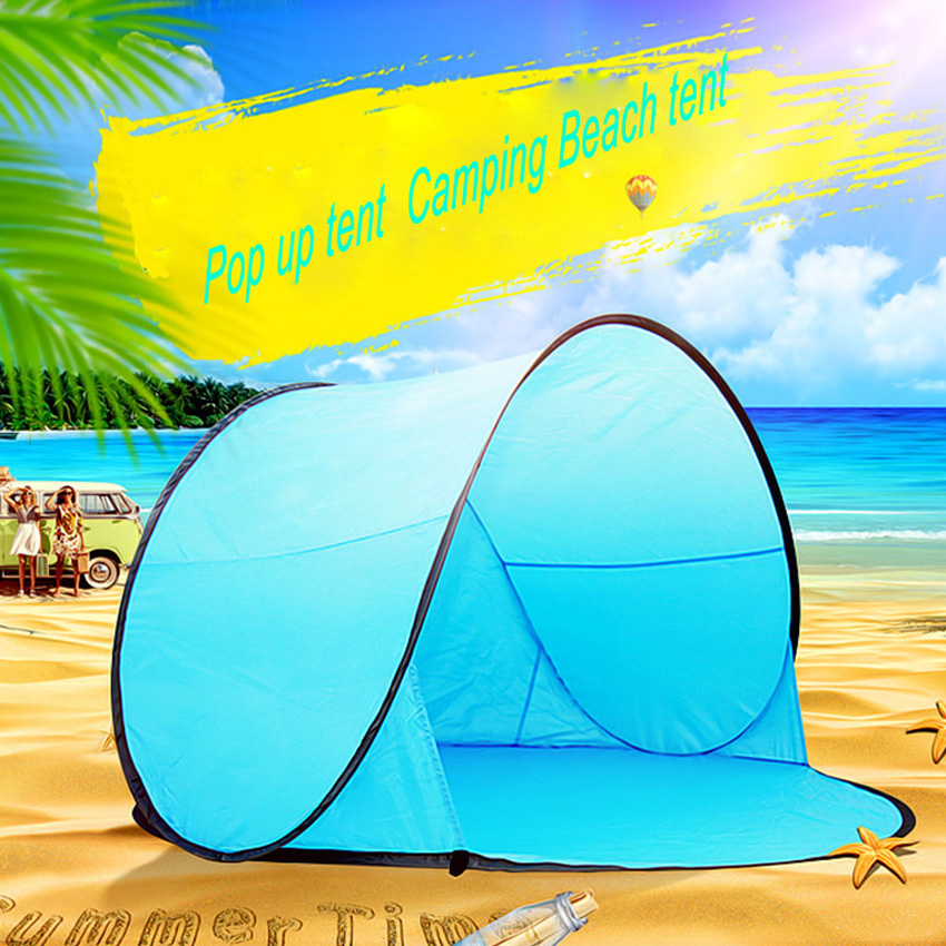outdoor  lightweight portable blue beach tents automatically otomatik çadır