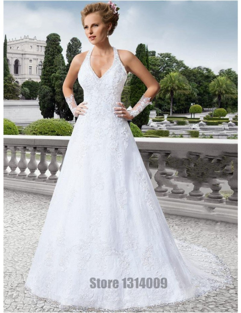 A Line Halter Liques Wedding Dresses Backless Corset Chapel Train Lace Bridal Gowns Robe De Mariage Casamento With Gloves In From