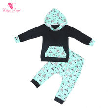 Kaiya Angel Newborn Baby Boys Clothing Set Black Hooded Tops With Green Bottom Cottage Printed Pants Todder Autumn Winter Outfit