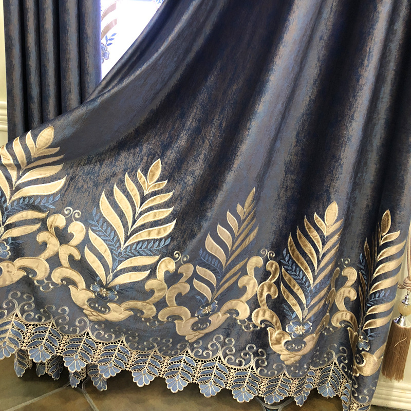 European Modern Blue Curtains Fo  Living Room Balcony Water Soluble Curtains for Bedroom  Embroidery Window Valance Curtains window valance