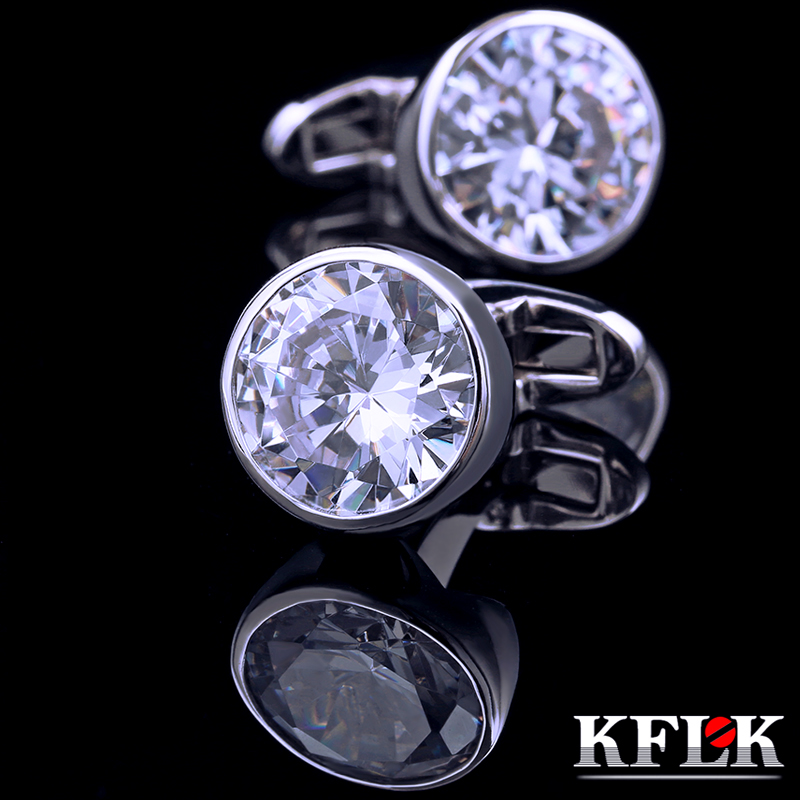 KFLK shirt Silver cufflink for mens womens fashion Brand with Crystal Cuff links wedding Gift Buttons High Quality Free Shipping