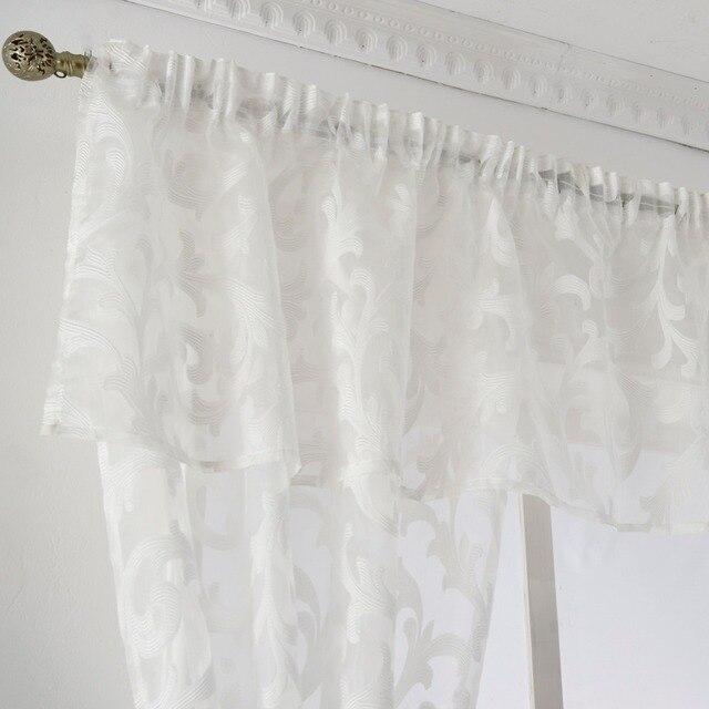 Breve tenda mantovana finestra della cucina piccolo organza jacquard tessuti nero bianco beige pannello tenda pura tulle trattamento finestra