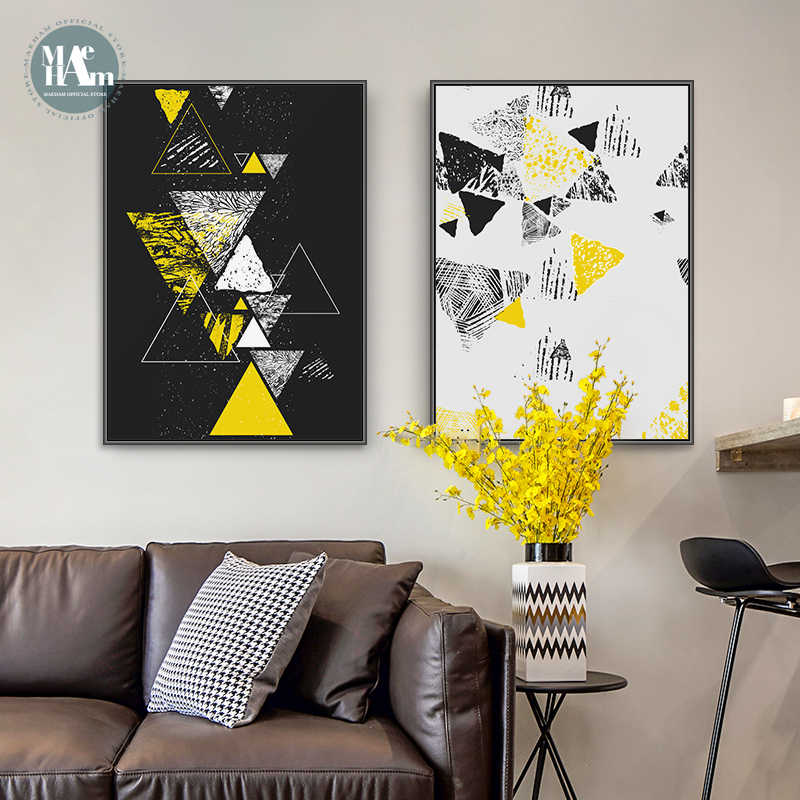 black yellow Geometry Canvas Art Posters and Prints Abstract Painting Nordic Wall Pictures for Living Room Modern Home Decor