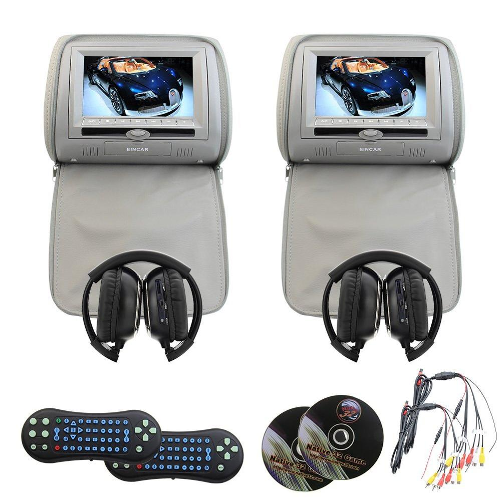 Eincar Pair LCD Dual Screen Headrest cd DVD player USB/SD/MP3/MP4 Support 32 bit Games FM transmitter IR monitor+2 IR headphones eincar car 9 inch car dvd pillow headrest two monitor lcd screen usb sd 32 bit game fm ir multimedia player free 2 ir headphones