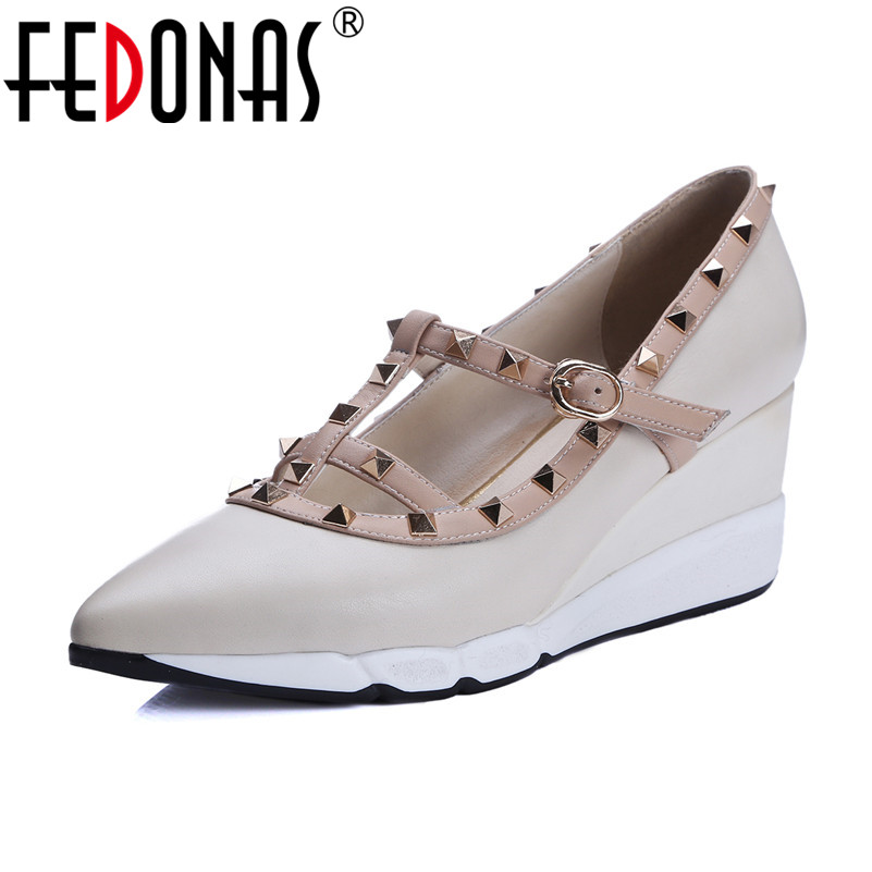 FEDONAS Women Shoes Wedges High Heel Rivets Pointed Toe Party Shoes Women Pumps Sexy Spring Autumn Genuine Leather Shoes Woman genuine leather shoes fashion2017 new autumn women wedges shoes high heel platforms for women casual shoes pumps elevator women