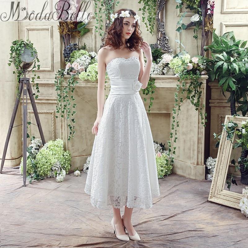 ModaBelle 2016 Summer White Lace Sweetheart A Line Tea Length ...