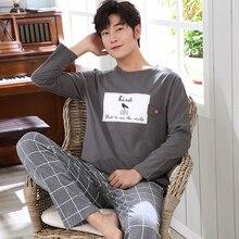 Пижамы мужские Осень-зима мужские s пижамы хлопковые полосатые пижамы с круглым вырезом с длинным рукавом пижамы повседневные Мужская пижама плюс размер 3XL