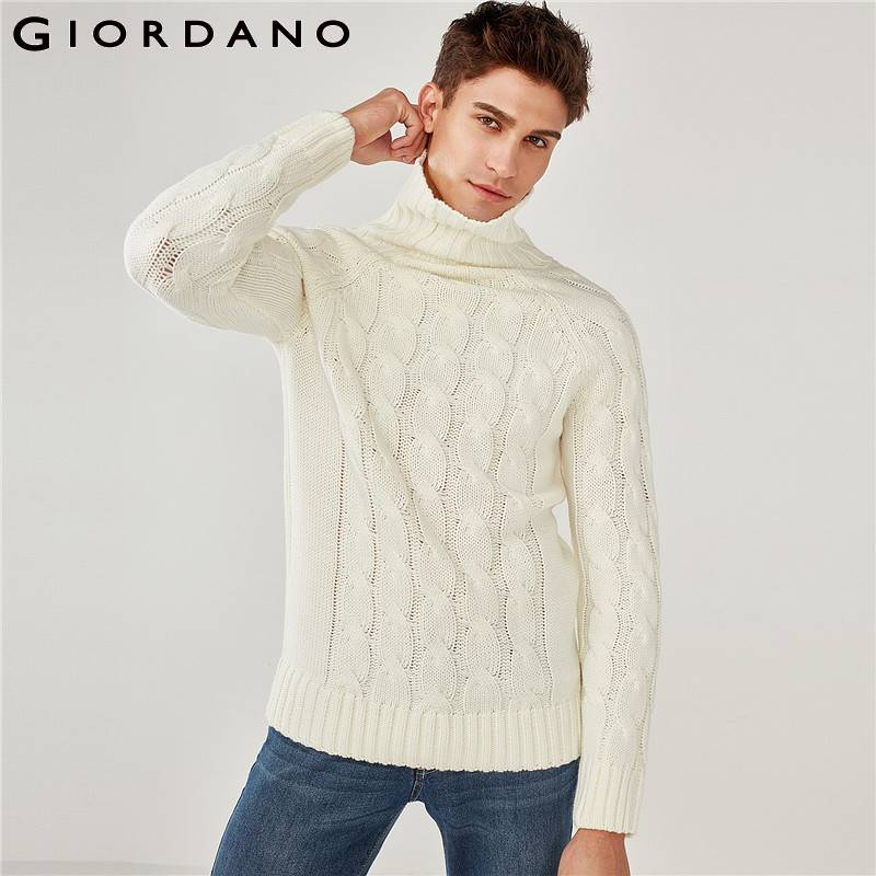 Giordano Men Sweater Men Thick Turtleneck Warm Sueter Hombre Pullover Sweater Men Long Sleeve Ribbed Cuffs Pullover Men Winter