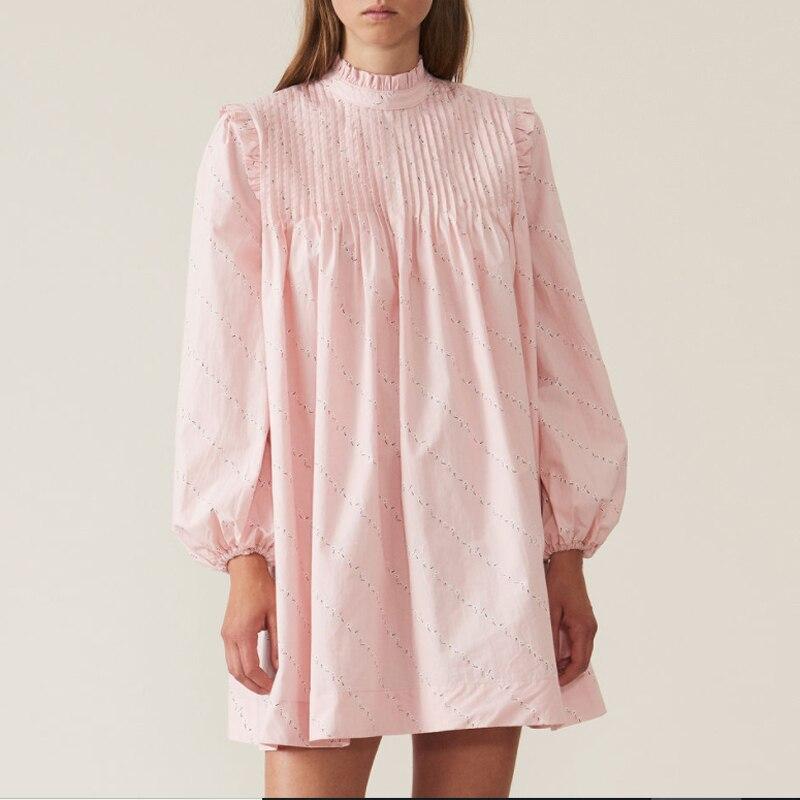 2019 nouveau femmes rose lâche robe col montant imprimer à manches longues doux Chic robe