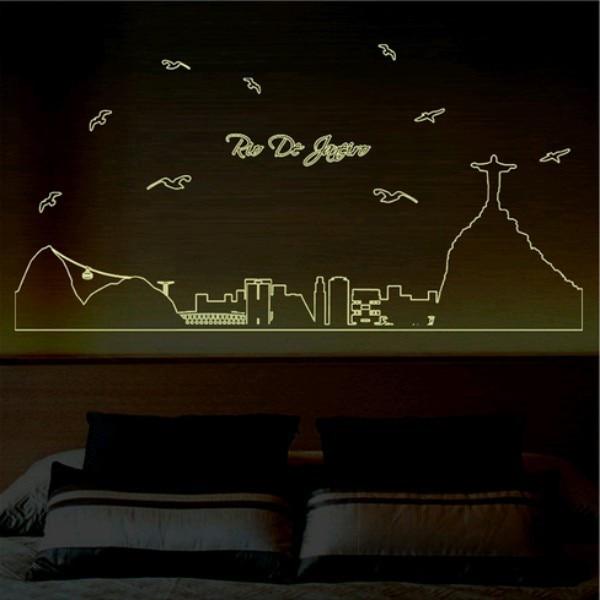 2017 Nové přílet Rio de Janeiro Záře ve tmě Chcete-li odstranit fluorescenční tyčinku Obývací pokoj nálepky zdobení nástěnné zdí