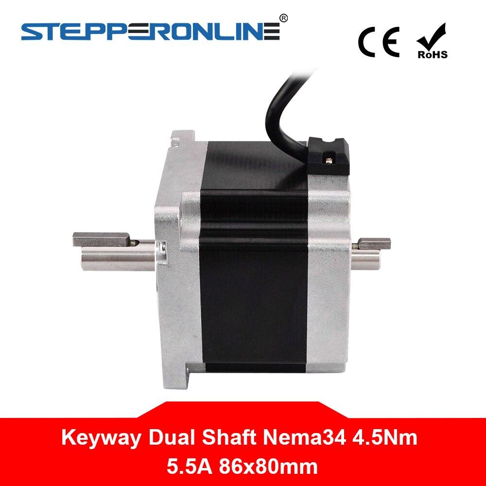 Keyway Dual Shaft Nema 34 Stepper Motor 4 5Nm 637oz in 4 lead 86x86x80mm 5 5A