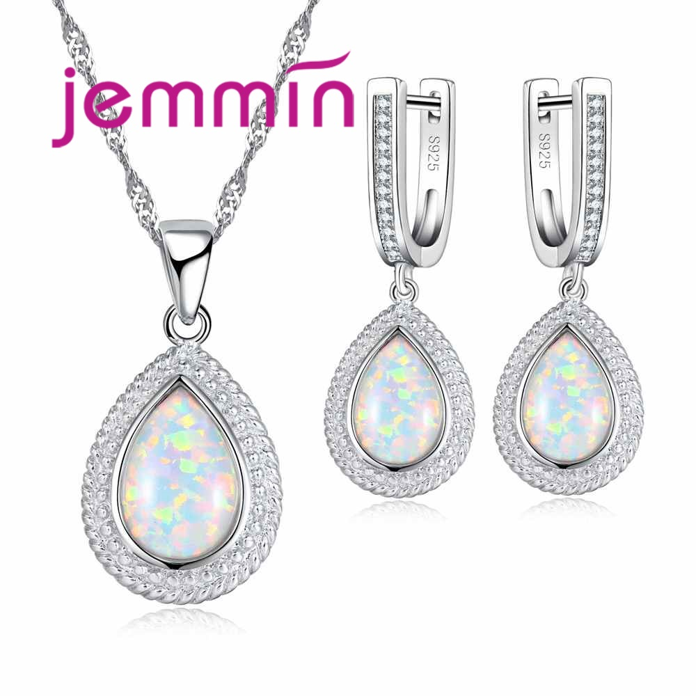 Jemmin High Quality Classic Water Drop Shape 925 Sterling Silver Necklace Earrings Set Elegant Jewelry For Women Ladies PartyJemmin High Quality Classic Water Drop Shape 925 Sterling Silver Necklace Earrings Set Elegant Jewelry For Women Ladies Party