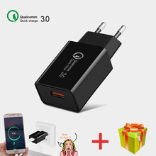 Phone Charger Qualcomm Quick Charge 3.0 EU Plug Enchufe USB Fast Mobile Wall Adapter For Apple iphone Samsung Xiaomi Huawei 18W