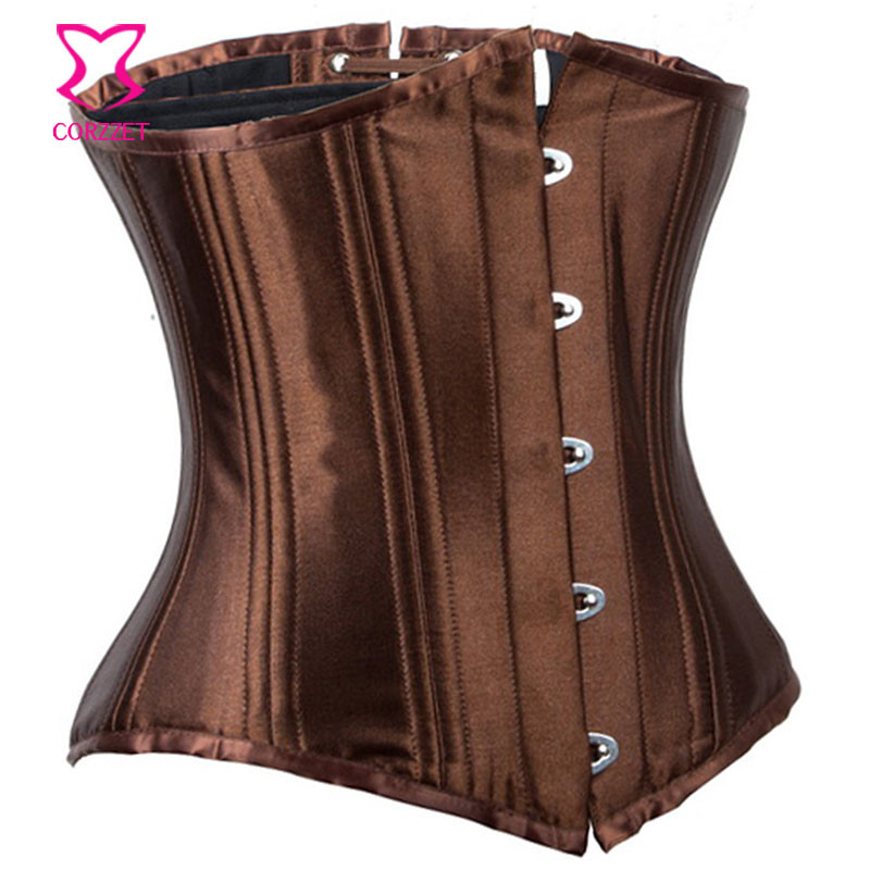 dc416113153 Sexy Brown Satin 24 Steel Boned Waist Trainer Underbust Corset Gothic  Corpetes E Espartilhos Plus Size Corsets And Bustiers 6XL