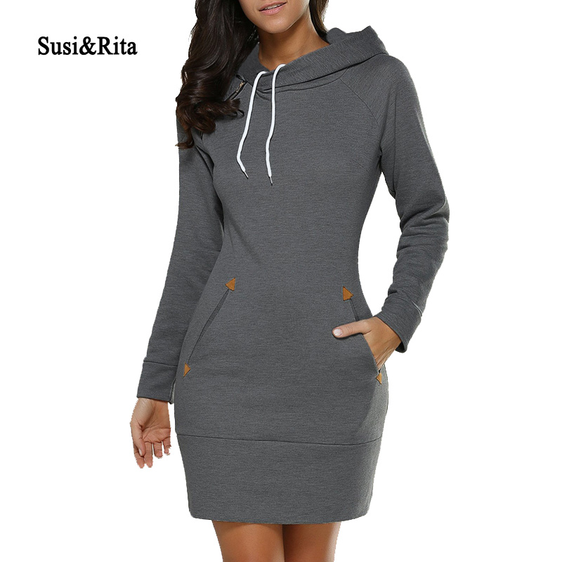 Susi & Rita 2018 Höst Hooded Dresses Kvinnor Ficka Långärmad Mini Hoodie Dress Plus Storlek Vinter Casual Clothings Vestidos